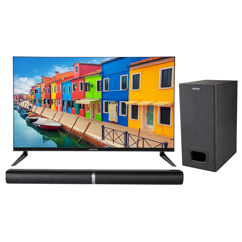 MEDION® Offre combinée ! LIFE E13212 LCD-TV 31,5 Pouces avec Lecteur DVD & P61220 Barre de son 2.1 avec Bluetooth et caisson de basses