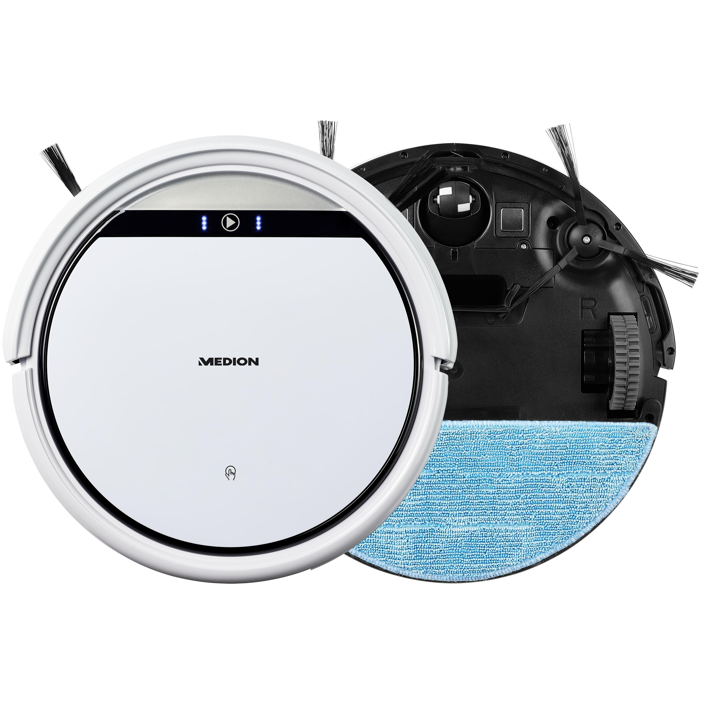 MEDION® Robotstofzuiger MD 19510 met dweilfunctie | 2600 mAh accu | Voor gladde vloeren en tapijt | 90 Min. gebruiksduur | Intelligente navigatie