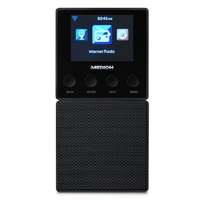 MEDION® LIFE® E85032 Steckdosen Internetradio, 6,1 cm (2,4'') TFT-Farbdisplay, Steuerung per App, DLNA-/UPnP kompatibel, WLAN und Bluetooth®-Funktion  (B-Ware)