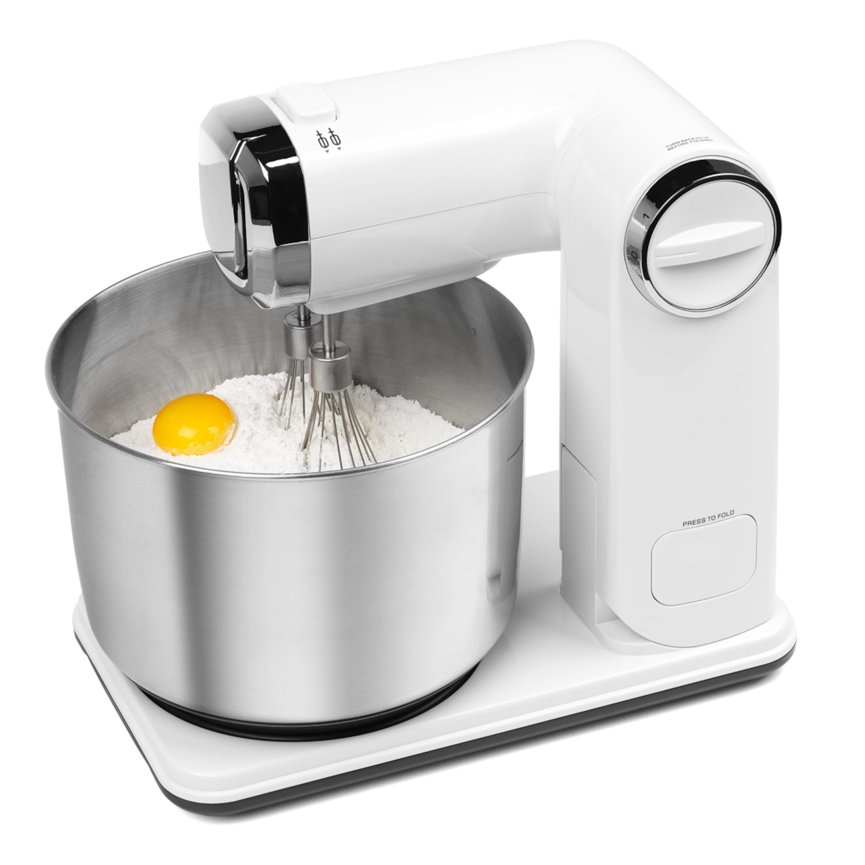 MEDION® Faltbare Küchenmaschine MD 17664, 6 Geschwindigkeitsstufen, 5-teiliges Zubehör-Set, 300 Watt Leistung