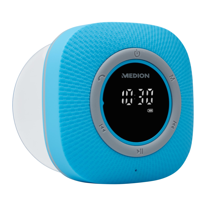 MEDION® LIFE P66096 Radio de douche (Bleu) | Affichage LED | FM | Protection IPX6 | Bluetooth 5.0 | 30 W Puissance de sortie  (Reconditionné)