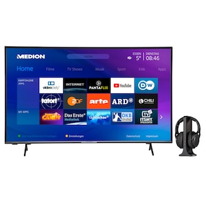 MEDION® LIFE® X14351 108 cm (43'') Ultra HD Display Smart-TV + E62003 Funkkopfhörer - ARTIKELSET