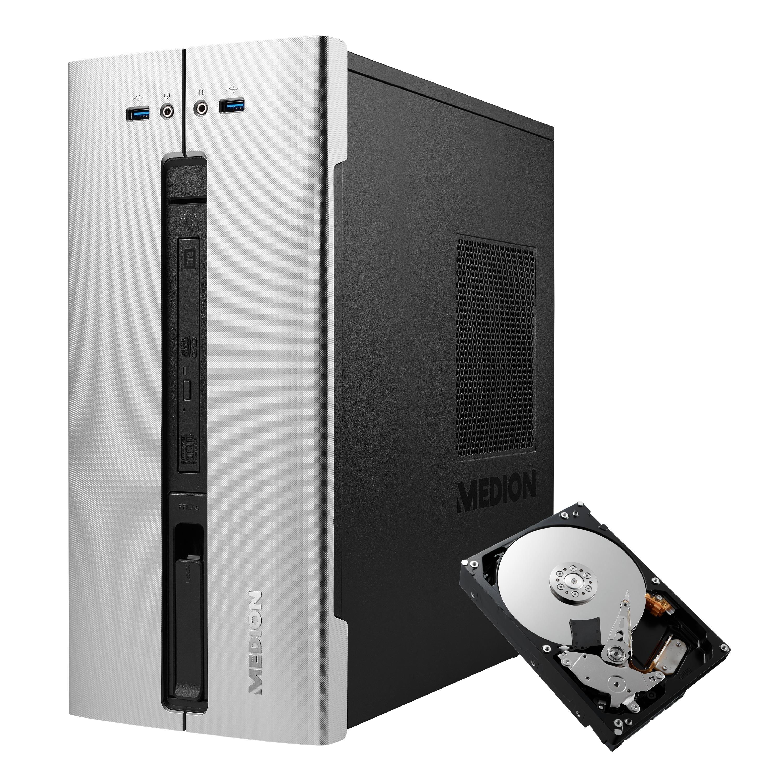 MEDION® AKOYA® E66015 Multimedia PC + 1 TB interne HDD &  1 Jahres-Lizenz McAfee® LiveSafe™ Virenschutz - ARTIKELSET