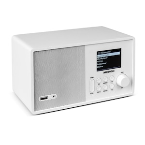 MEDION® E85040 WLAN Internet-Radio, Solides Holzgehäuse, 6,1 cm/2,4 TFT-Display, DLNA/UPNP, FM/UKW, LAN, USB 2.0, AUX, 1 x 10 W RMS (B-Ware)