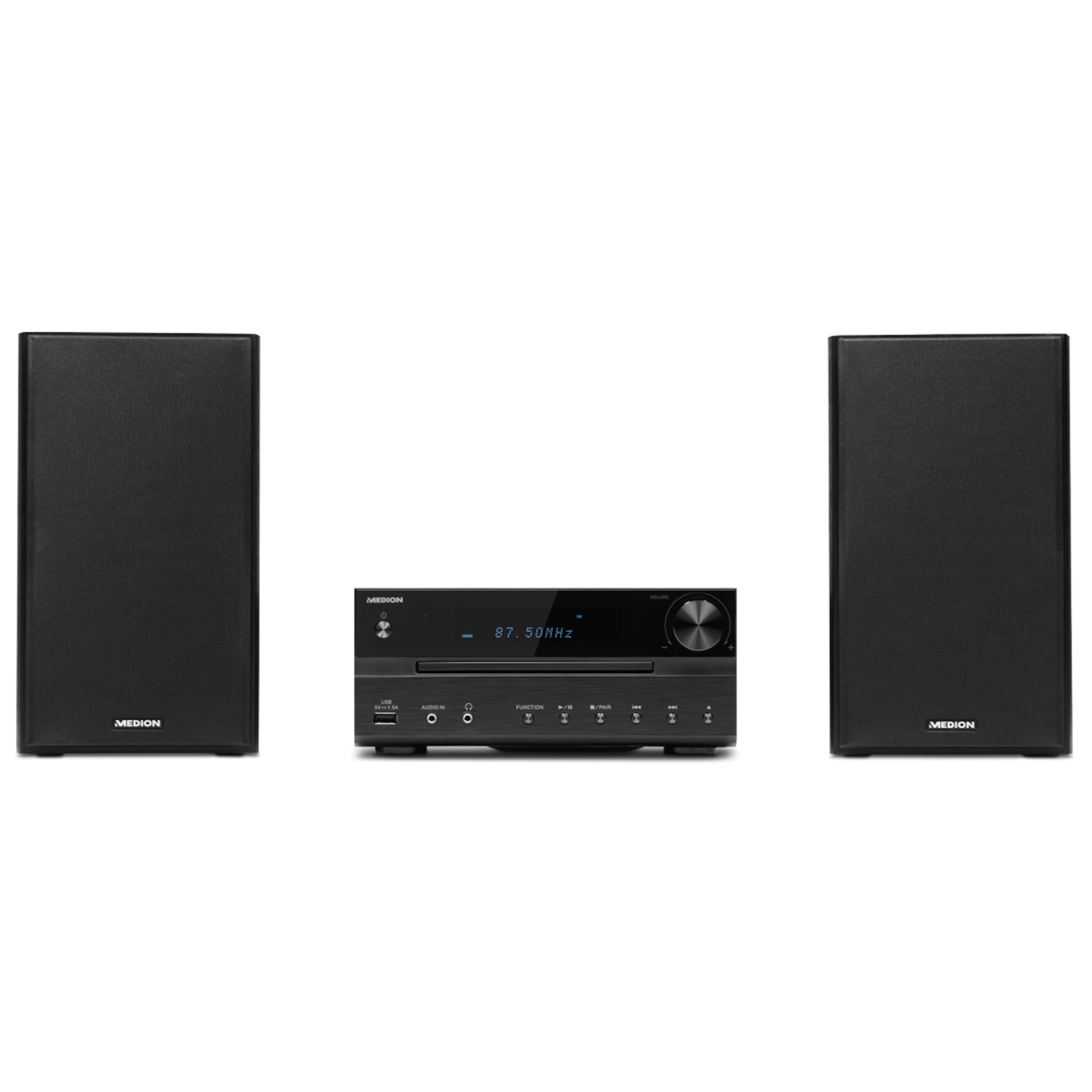 MEDION® LIFE® P64262 Micro-Audio-System mit CD-Player, DAB+, Bluetooth® 4.1, USB-Anschluss & -Ladefunktion, AUX, PLL-UKW Stereo-Radio, 2 x 15 W RMS