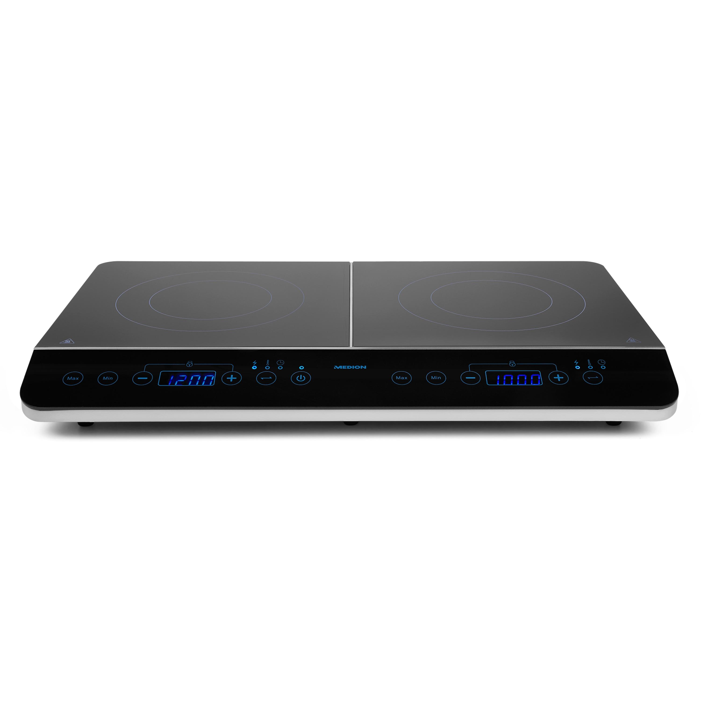 MEDION® Doppel-Induktionskochplatte MD 15324, 3500 Watt Induktionsleistung, automatische Topferkennung, energiesparend