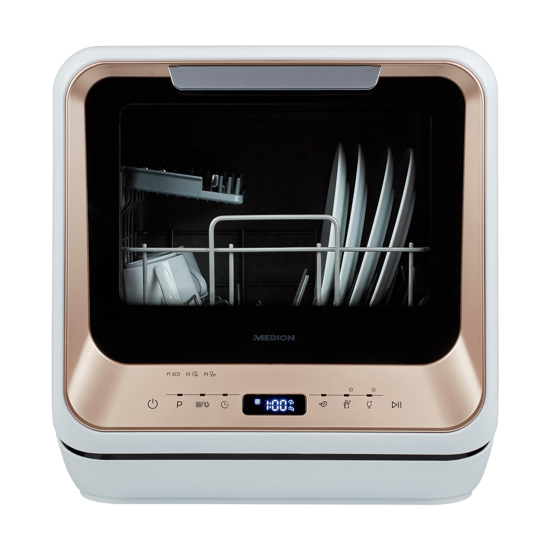 MEDION® Mini Geschirrspüler MD 37004, für 2 Maßgedecke, funktioniert mit/ohne Wasseranschluss, 6 Reinigungsprogramme, Startzeitvorwahl