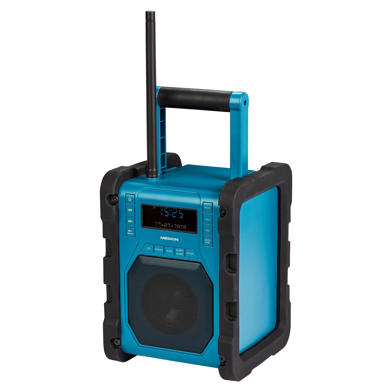 MEDION® LIFE® P66098 Radio de chantier DAB+ avec fonction Bluetooth®, écran LC dot-Matrix, DAB+, VHV, RDS, boîtier résistant aux chocs, résistant aux éclaboussures selon IP54