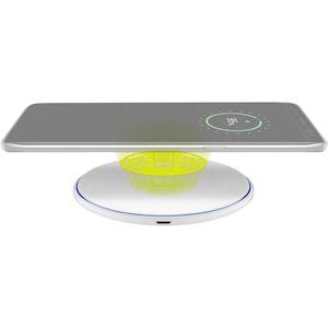 WENTRONIC Kabelloses Schnellladegerät 10 W, Qi Induktionstechnologie, Schnellladetechnik (QuickCharge), flaches und elegantes Design mit einem LED-Ladestatusring
