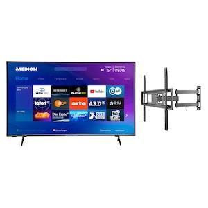 MEDION® Offre combinée ! LIFE® P14327 Full HD Smart-TV 43 pouces & GOOBAY Basic FULLMOTION (L) Fixation mural