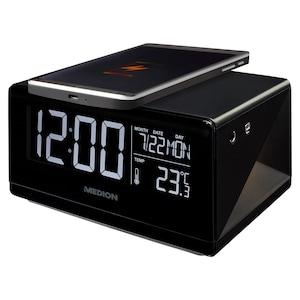 MEDION® LIFE® E75009 Wekker met QI oplader | Temperatuurweergave | 2 Wektijden | LC-display | Touchbediening | Nachtlicht
