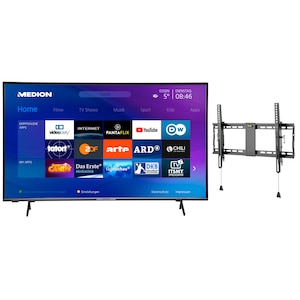 MEDION® LIFE® X15556 146,1 cm (58'') Ultra HD Smart-TV + GOOBAY Pro TILT (L) Wandhalterung - ARTIKELSET