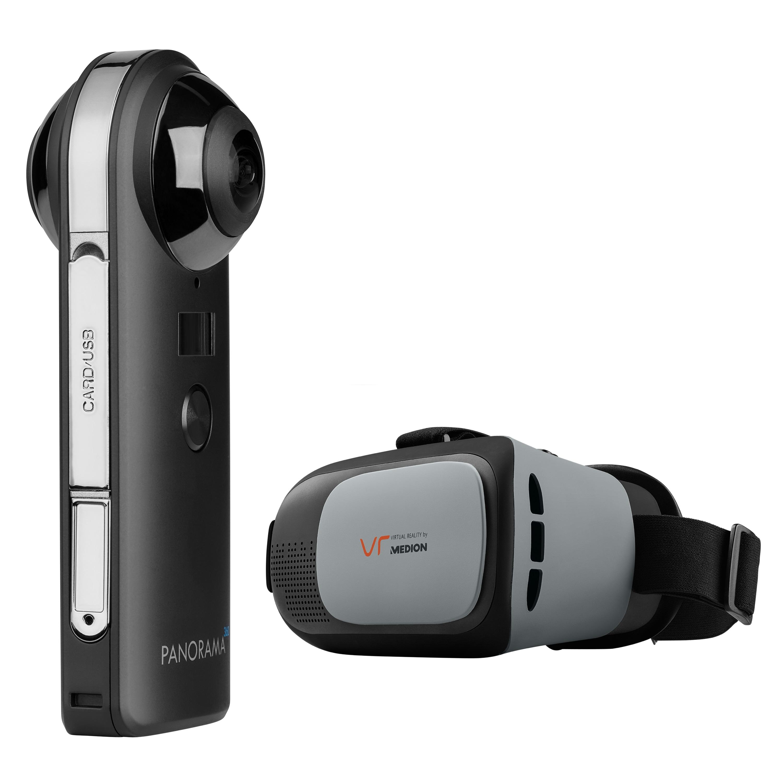 MEDION® 360° Kamera P47190 inkl. VR-Headset X83008, 20 MP CMOS Sensor, 2 x 190° Weitwinkelobjektiv, WLAN, Bluetooth® 4.2, integr. Mikrofon & Li-Ion Akku (B-Ware)