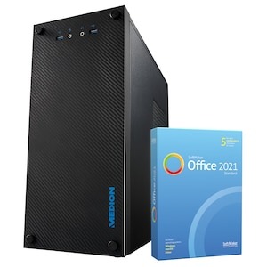 MEDION® AKOYA® E36002, AMD Ryzen™ 3 3200G, Windows 10 Home, GT 1030, 256 GB SSD, 8 GB RAM, Multimedia PC, inkl. SoftMaker Office Standard 2021