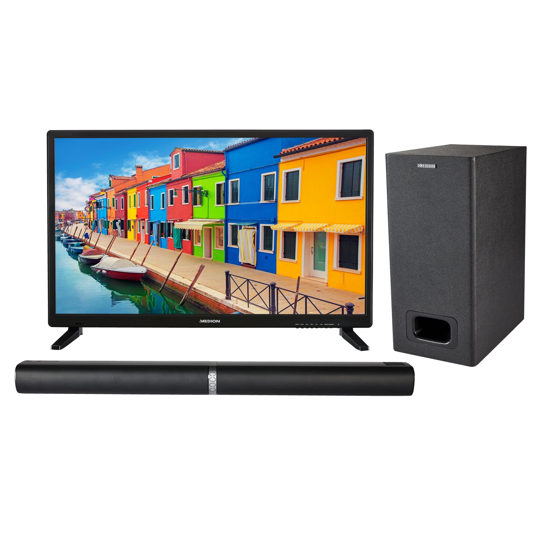 MEDION® Offre combinée ! LIFE E12837 LCD-TV 27,5 Pouces avec Lecteur DVD & P61220 Barre de son 2.1 avec Bluetooth et caisson de basses