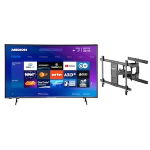 MEDION® Offre combinée ! LIFE® P14327 Full HD Smart-TV 43 pouces & GOOBAY Pro FULLMOTION (L) Support mural