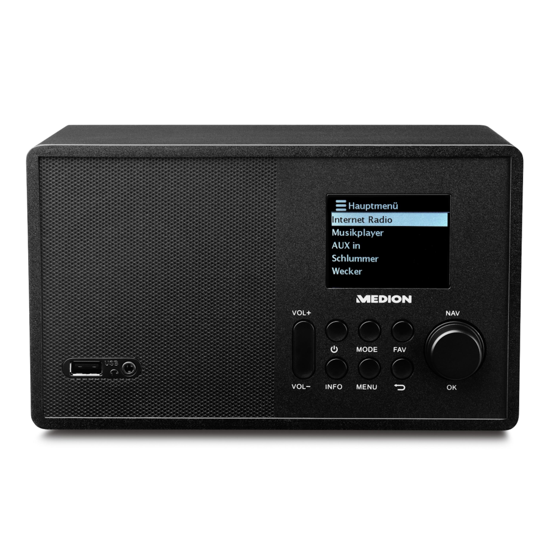 MEDION® LIFE® E85040 WLAN-Internetradio, 6,1 cm (2,4'') TFT-Display, solides Holzgehäuse, DLNA/UPnP, UKW, LAN, USB 2.0, AUX, 1 x 10 W RMS