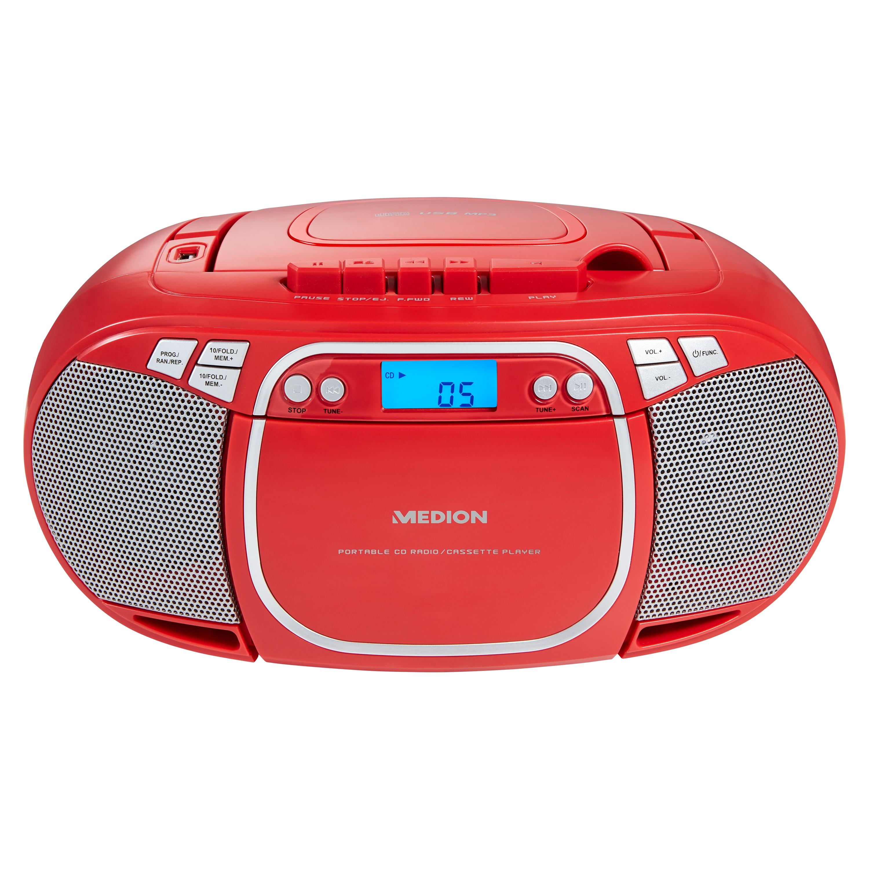 MEDION® LIFE® E66476 CD-/MP3-/Kassettenspieler, LC-Display mit Hintergrundbeleuchtung, PLL-UKW Stereo, USB-Anschluss, 2 x 20 W max. Musikausgangsleistung  (B-Ware)