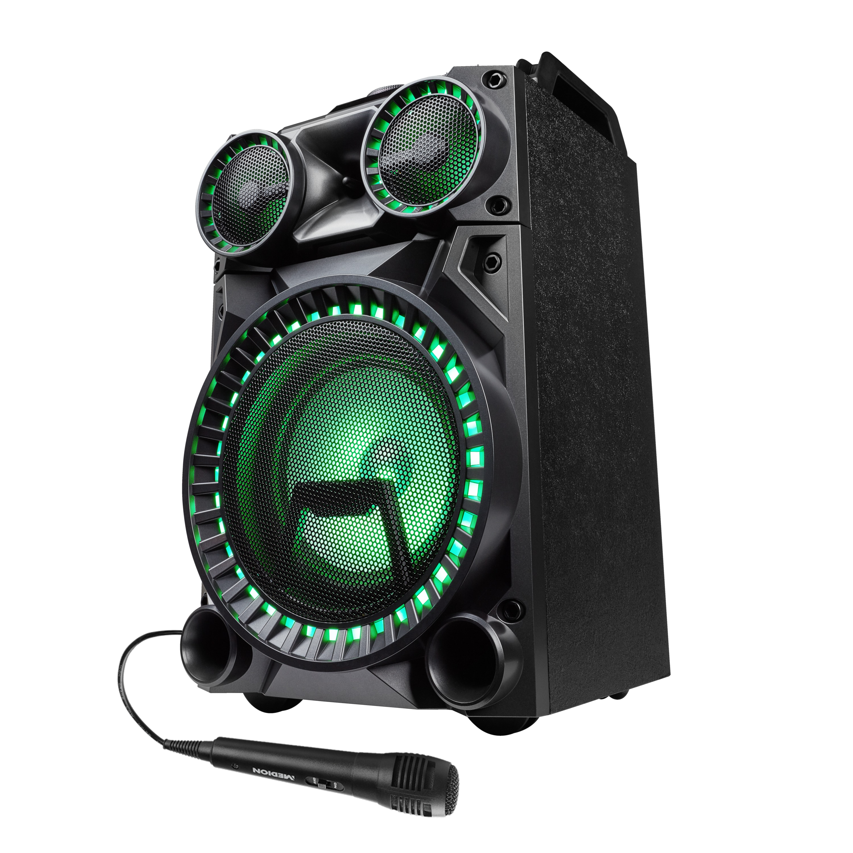 MEDION® LIFE® X64030 Bluetooth® Partylautsprecher mit Drum Pads, Mikrofon, LED Lichteffekte, kraftvolle Bässe, Gitarreneingang