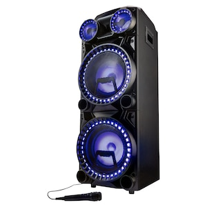 MEDION® LIFE® X64060 Partylautsprecher, LED-Display, Karaoke-, DJ- und Schlagzeug-Funktion, Musikübertragung von Smartphone & Co via Bluetooth® 5.0, Equalizer, inklusive Mikrofon, 2 x 1000 W max. Musikausgangsleistung
