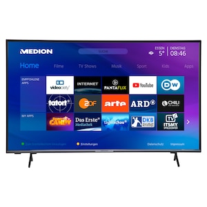 MEDION®  LIFE® X15000 Smart TV | 50 pouces | Affichage Ultra HD | HDR | Microgradation | PVR | Netflix | Amazon Prime Video | Bluetooth | Triple tuner HD | CI+