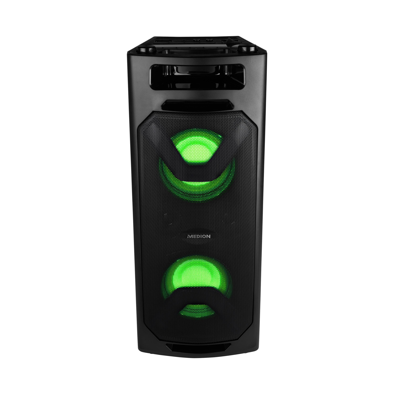 MEDION® LIFE® P67032 Tragbares Bluetooth®-Soundsystem, PLL-UKW Radio, LC-Display, Bluetooth®, verschiedene Lichteffekte, integrierter Akku, leicht zu transportieren, 2 x 200 W max. Musikausgangsleistung