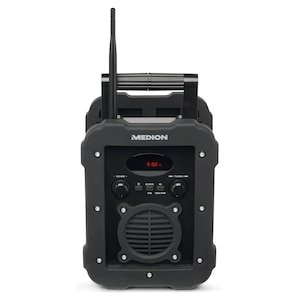 MEDION® LIFE® E66262 Baustellenradio, LED-Display, PLL-UKW Radio, Bluetooth®-Funktion, IP44-spritzwassergeschützt, robustes und stoßfestes Gehäuse  (B-Ware)