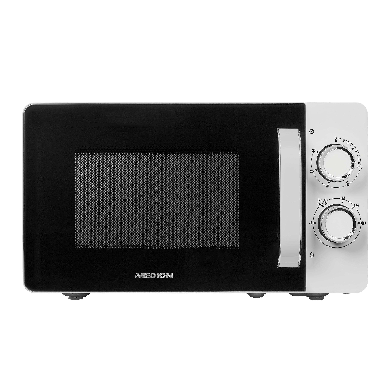 MEDION® Mikrowelle MD 18687, 700W Leistung, 6 Mikrowellen-Leistungsstufen, 20 l Garraum (kompakt), Auftaufunktion