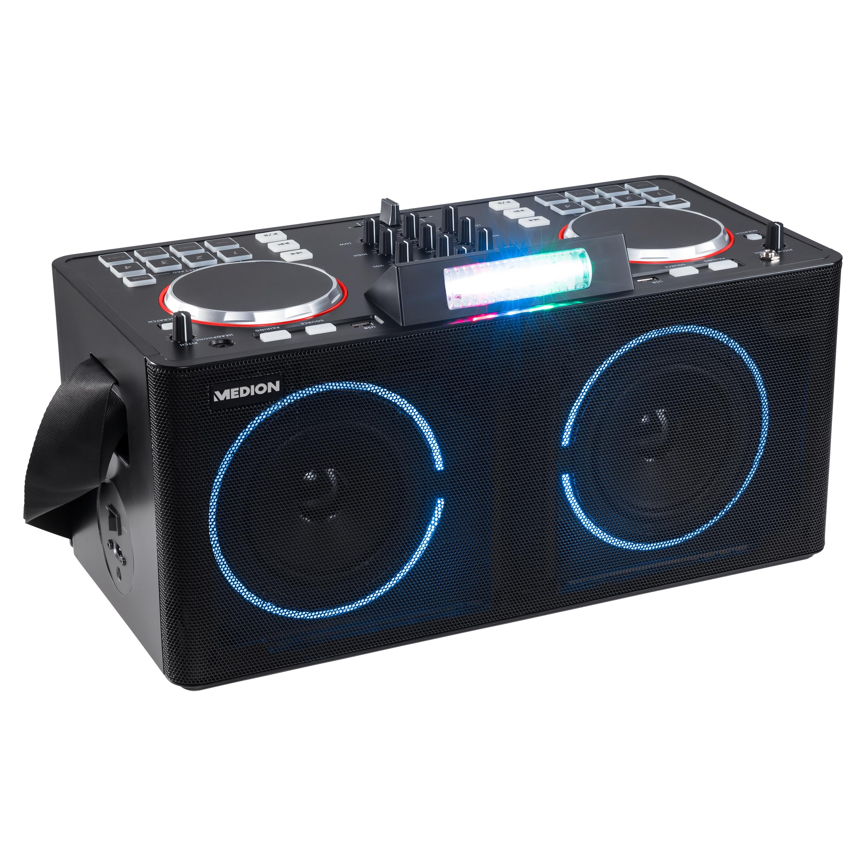 MEDION® LIFE® X61420 Partylautsprecher mit DJ-Controller, 2 LC-Displays, mit 8 multifunktionellen, beleuchtete Performance-Pads pro Deck, LED-Lichteffekte, einfach zu transportieren, 2 x 20 W RMS