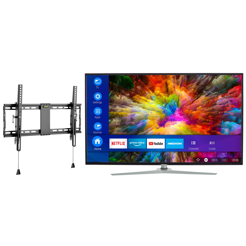 MEDION® LIFE® X16512 Smart-TV, 163,9 cm (65'') Ultra HD Fernseher, inkl. kippbarer Wandhalterung Pro - ARTIKELSET