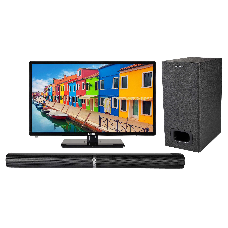 MEDION® Offre combinée ! LIFE E12443 LCD-TV 23 Pouces avec Lecteur DVD & P61220 Barre de son 2.1 avec Bluetooth et caisson de basses