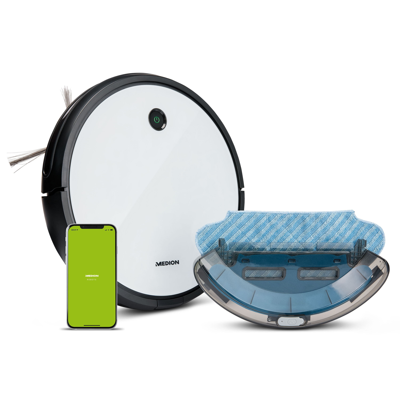 MEDION® Saugroboter mit Wischfunktion MD 19601, App- und Alexa-Steuerung, Saugen und Wischen gleichzeitig, intelligente Navigation, große Hauptbürste und zwei Seitenbürsten, 100 Min. Laufzeit