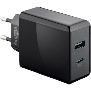 WENTRONIC Chargeur rapide Dual USB-C ™ avec alimentation électrique, charge jusqu'à deux appareils en même temps