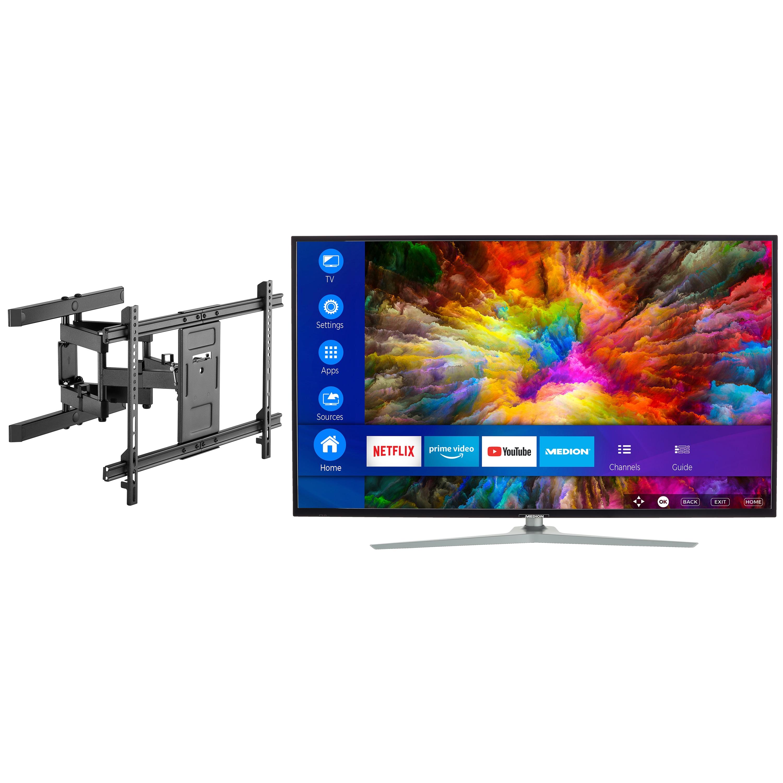 MEDION® LIFE® X15511 Smart-TV, 138,8 cm (55'') Ultra HD Fernseher, inkl. schwenkbarer Wandhalterung Pro - ARTIKELSET