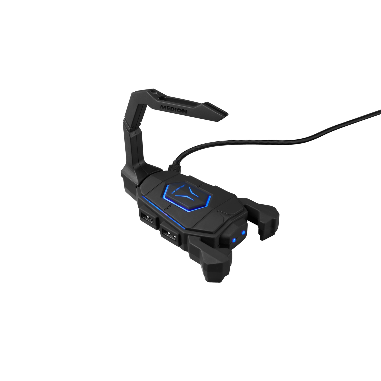 MEDION® ERAZER X89050 Mouse Bungee | USB Hub | LED Verlichting | Kabelmanagement | 4 USB Aansluitingen