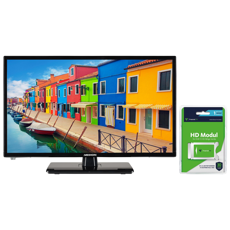 MEDION® LIFE® E12442 LCD-TV, 59,9 cm (23,6'') Full HD Fernseher, inkl. DVB-T 2 HD Modul (1 Monat freenet TV gratis) - ARTIKELSET