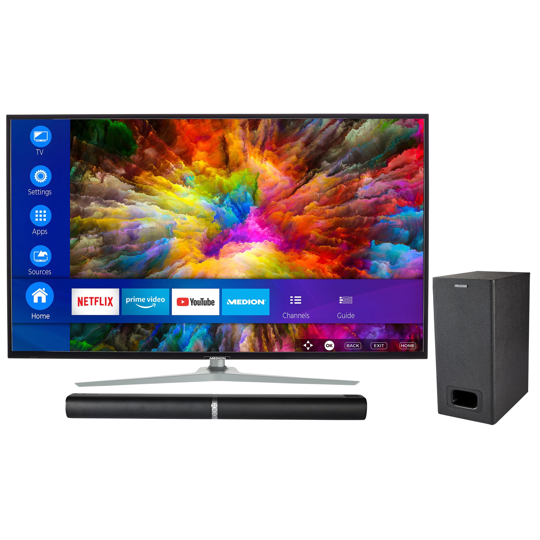 MEDION® LIFE® X15010 Smart-TV, 125,7 cm (50'') Ultra HD Fernseher, inkl. LIFE® P61220 TV-Soundbar mit Subwoofer - ARTIKELSET
