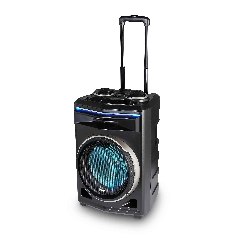 MEDION® Enceinte de soirée LIFE® P61200, système audio portable Bluetooth®, différents effets de lumière, son riche, poignée télescopique et roulettes, puissance de sortie musicale 350W max.