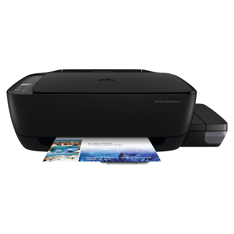 HP Smart Tank 455 All-in-One Drucker, mobiles Drucken und Scannen, Kopieren, Farbe, USB, WLAN, 60 Blatt Papierzufuhr