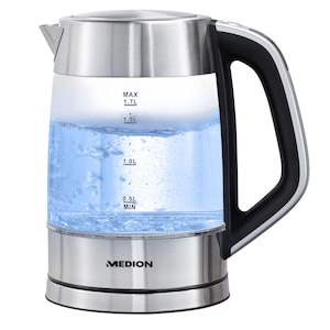 MEDION® Digitaler Glas-Wasserkocher MD 10210, 1,7 L Kapazität, digitale Temperatureinstellung, LED-Beleuchtung