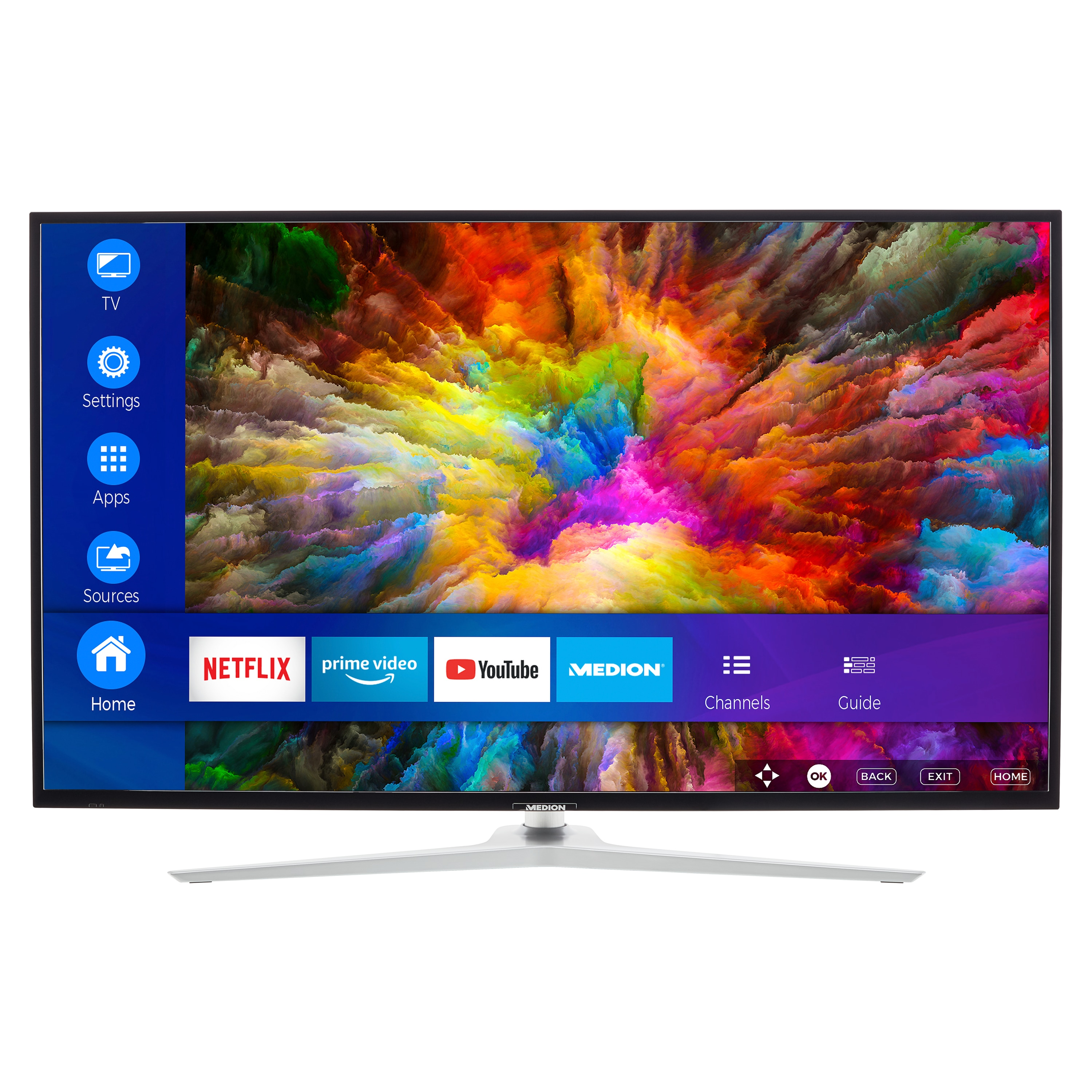MEDION® LIFE® X15031 Smart-TV, 125,7 cm (50'') Ultra HD Display, HDR, Dolby Vision™, Micro Dimming, MEMC, PVR ready, Netflix, Amazon Prime Video, Bluetooth®, DTS HD, HD Triple Tuner, CI+