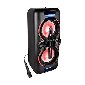 MEDION® LIFE® X61555 Bluetooth® Partylautsprecher, PLL-UKW, X-Bass, Mikrofonanschluss, Kabellose Musikübertragung, verschiedene Beleuchtungseffekte, integr. Akku