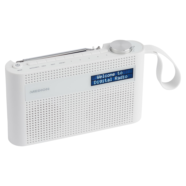 MEDION P66007 Tragbares Radio, dimmbares Dot-Matrix-Display, DAB+/UKW, Bluetooth 5.0, integr. Akku, kompaktes Design, Trageschlaufe, 3 W (RMS)