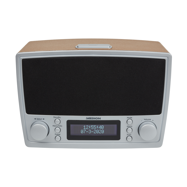 MEDION® DAB+ LIFE Klokradio E66462 | FM radio | 2 x 20 Watt | USB aansluiting | Radio data systeem (RDS) | Retro design  (Refurbished)