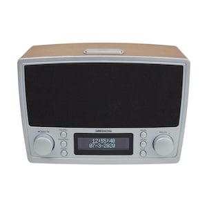 MEDION® LIFE® DAB+/UKW Uhrenradio E66462 im Retro-Design, 2 x 20 Watt max. Musikausgangsleistung (2 x 2 Watt RMS), USB-Ladeanschluss, Radio Data System  (B-Ware)