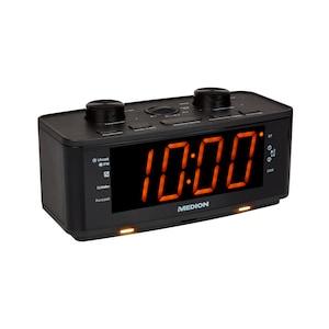 MEDION® LIFE® P66172 Uhrenradio, großes 4,57 cm (1,8'') LED Display, PLL UKW Radio, 20 Senderspeicher, USB Ladeanschluss, LED Nachtlicht,