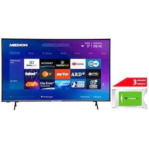 MEDION® LIFE® X16557 163,8 cm (65'') Ultra HD Smart-TV + DVB-T 2 HD Modul (3 Monate freenet TV gratis) - ARTIKELSET