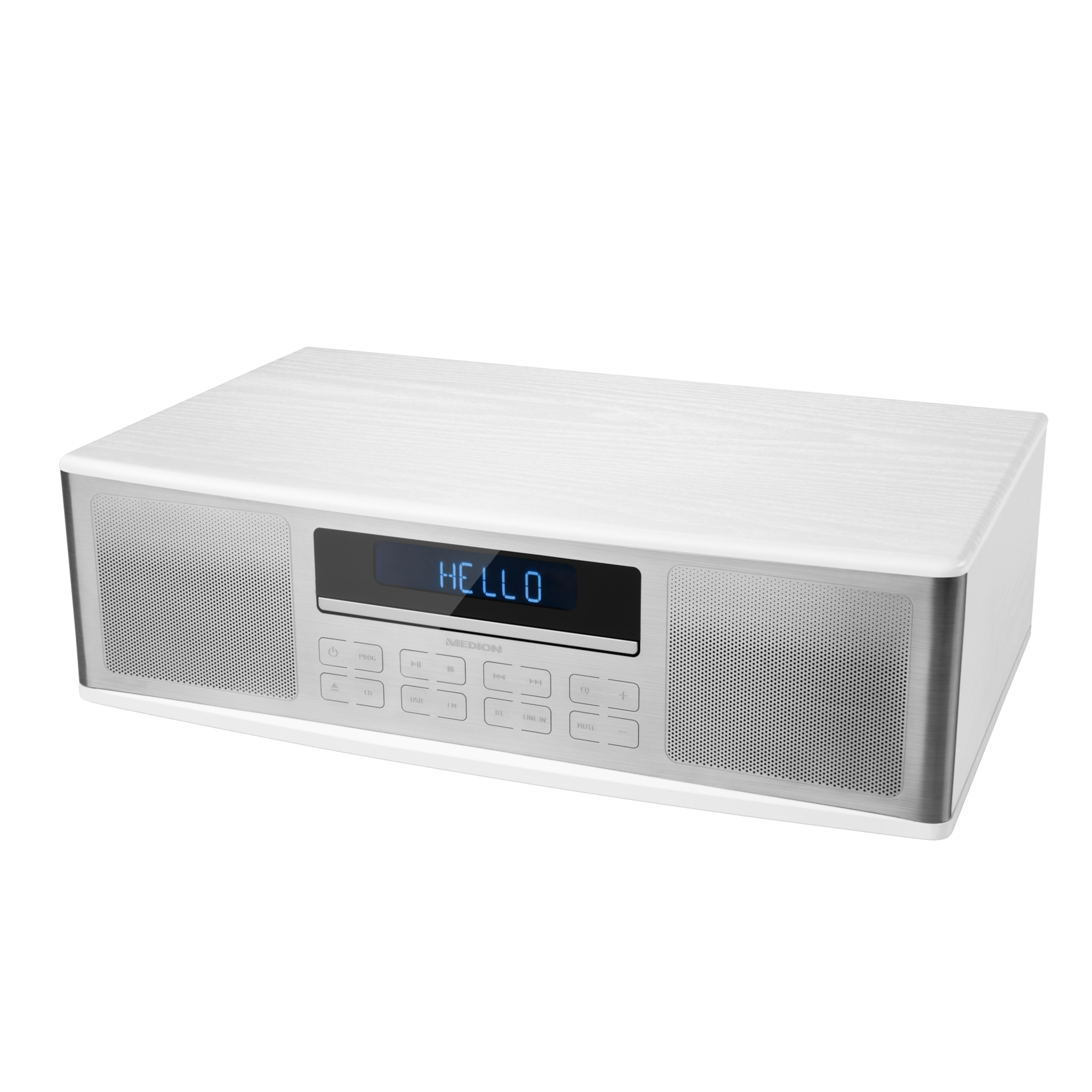 MEDION® LIFE® P64000 All-in-One Audio-System, Musikstreaming via Bluetooth®, Wiedergabe von CD/MP3 & USB-Stick, Edelstahl-Front, 2 x 15 W RMS
