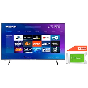 MEDION® LIFE® X15052  125,7 cm (50'') Ultra HD Display Smart-TV + DVB-T 2 HD Modul (12 Monate freenet TV gratis) - ARTIKELSET