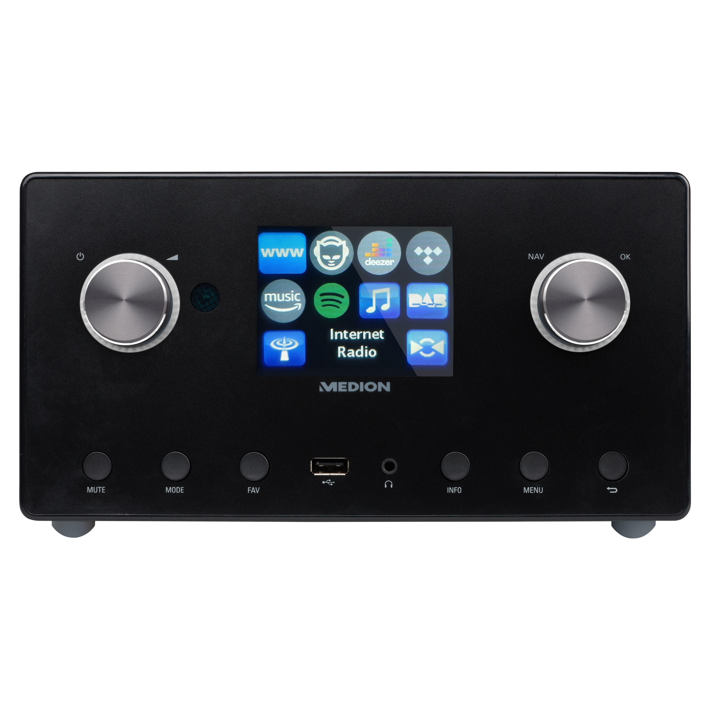 MEDION® LIFE® P85295 Stereo internetradio | 3,2 inch TFT-display | DAB+ & FM | Spotify-Connect | DLNA | USB | WiFi | LAN | Subwoofer | 2 x 7,5 W + 1 x 15 W (RMS)